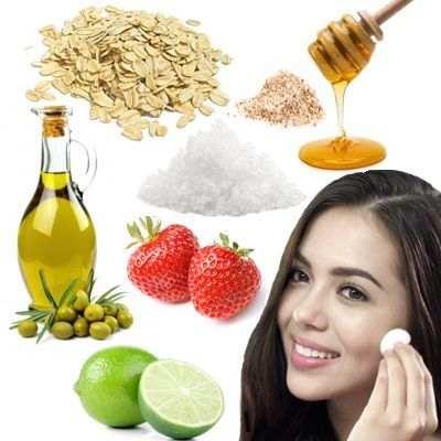 Exfoliantes faciales de avena, miel de abejas, limón, almendra, fresas