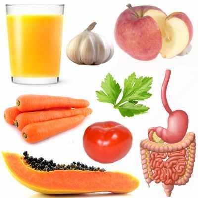 Jugos para la digestión de zanahoria, ajo, espinacas, apio, papaya, jícama y perejil