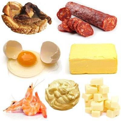 Cantidad de colesterol de cada alimento