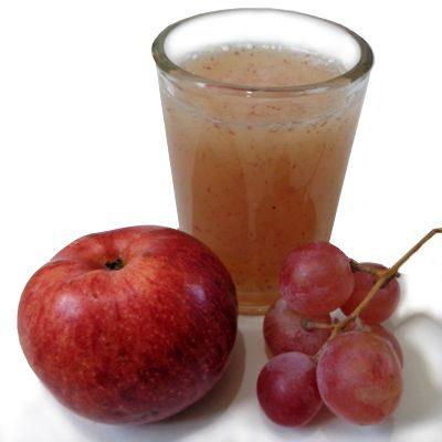 Propiedades del jugo de uva y manzana