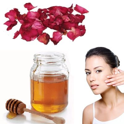 Miel y pétalos de rosa para la cara