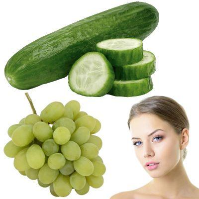 Pepino y uvas para las arrugas