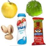 Colaciones saludables y  poco saludables