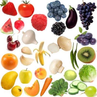 ¿Cuáles son los cinco colores de los alimentos?