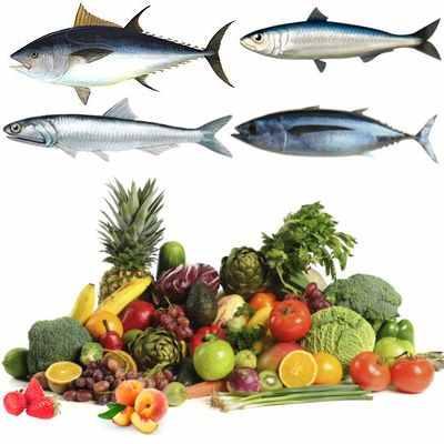 Pescado azul,  frutas y verduras para el buen funcionamiento del corazón