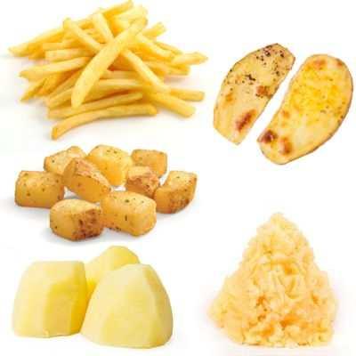 ¿Cuantas calorías hay en las papas fritas, puré de papa, hervidas o al horno?