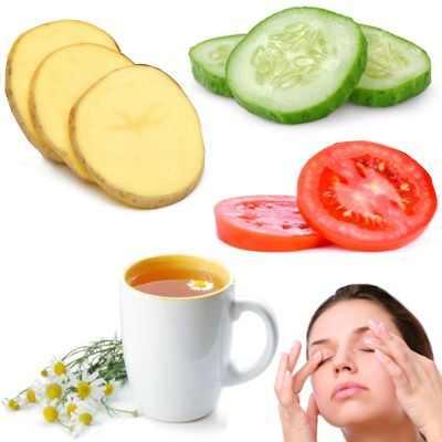 Cura los ojos hinchados con té de manzanilla, patata y tomate rojo