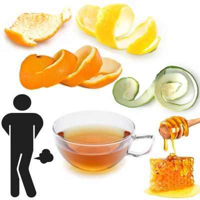 Té con cáscaras de frutas cítricas para tratar las flatulencias