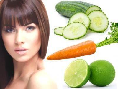 Loción hidratante natural de limón, pepino y zanahoria