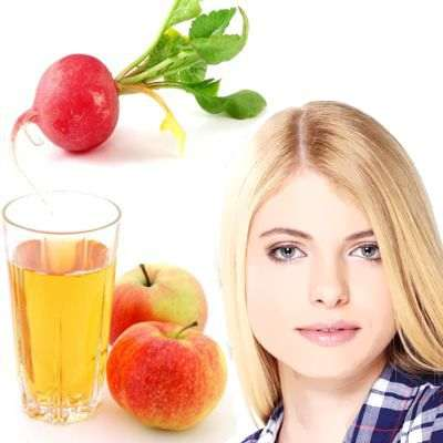 El rábano y el vinagre de sidra de manzana son buenos para manchas en la cara